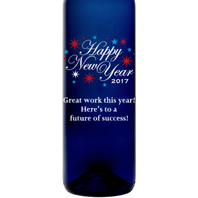 Happy New Year fireworks engraved custom blue bottle gift by Etching Expressions