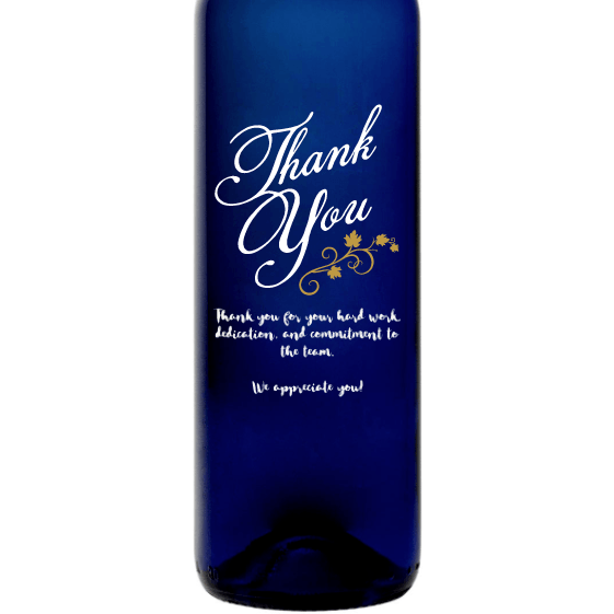 Personalized Blue Bottle - Thank You Vines
