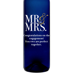 Mr & Mrs modern font custom etched blue wine bottle wedding gift by Etching Expressions