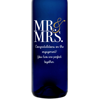 Mr & Mrs modern font personalized wedding gift for white wine drinkers by Etching Expressions