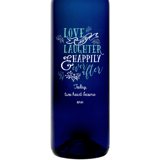 Love and Laughter & Happily Ever After custom etched blue wine bottle wedding present by Etching Expressions