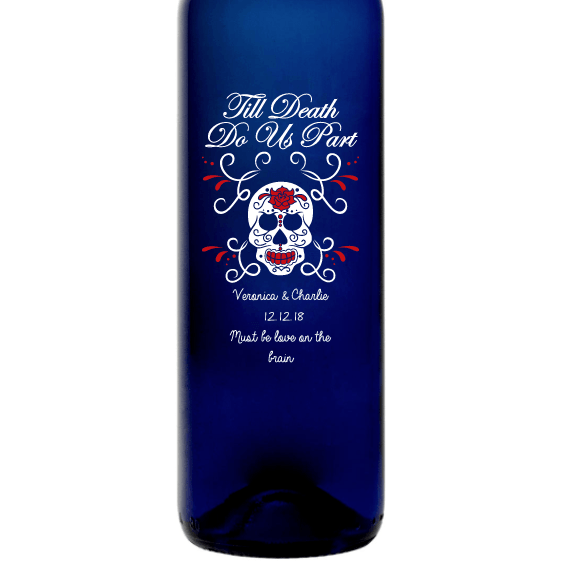 Personalized Blue Bottle - Till Death Do Us Part