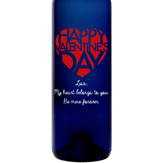 Personalized Etched Moscato Blue Bottle - Valentines Big Heart