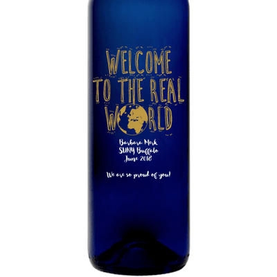 Personalized Blue Bottle - Welcome to the Real World