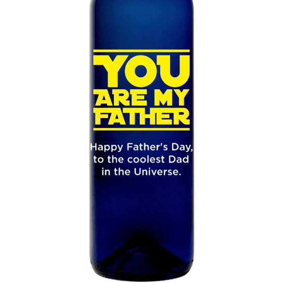 You Are My Father custom engraved blue wine bottle Father's Day gift for scifi fans by Etching Expressions