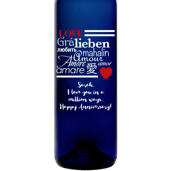 Love in many languages custom etched blue wine bottle Valentine's Day gift by Etching Expressions