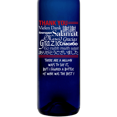 Personalized Blue Bottle - Language of Thanks