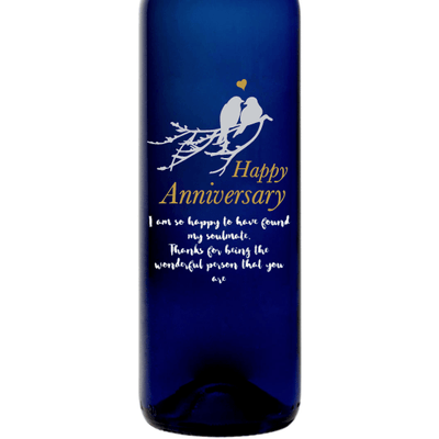 Personalized Etched Moscato Blue Bottle - Love Birds