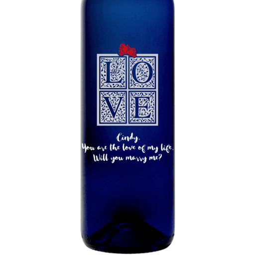 LOVE in a gift box custom etched blue wine bottle by Etching Expressions