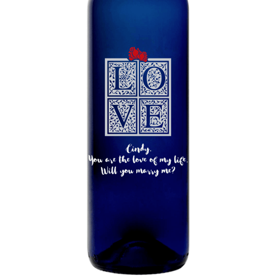 Personalized Etched Moscato Blue Bottle - Love Box