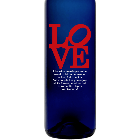 Love Square custom engraved blue wine bottle gift for Valentine's Day by Etching Expressions