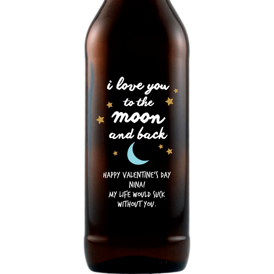 Personalized Etched Beer Bottle Gift - Moon and Back Stars
