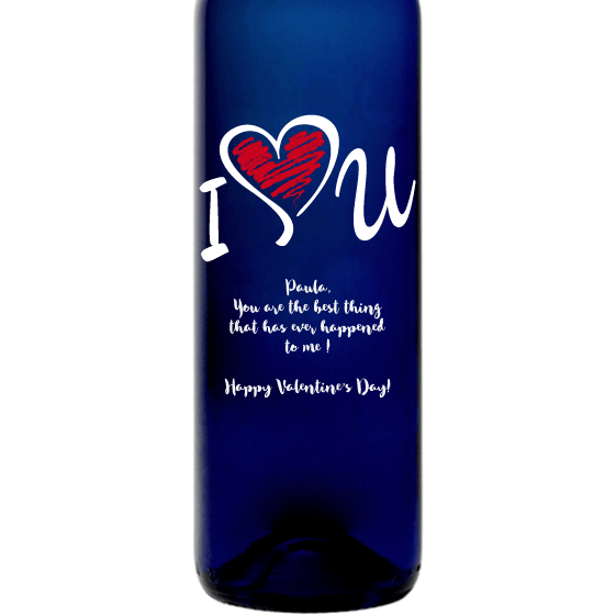 I Heart U personalized blue wine bottle Valentine's Day gift by Etching Expressions