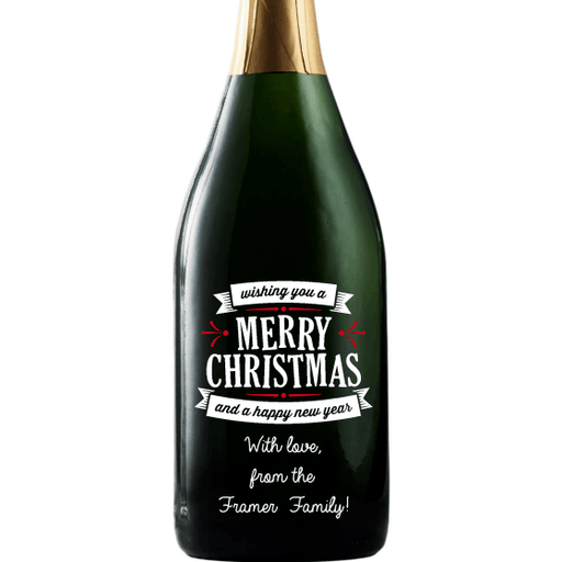 Merry Christmas and a Happy New Year custom etched champagne bottle by Etching Expressions