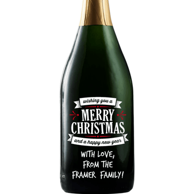 Merry Christmas and a Happy New Year custom engraved holiday champagne bottle by Etching Expressions
