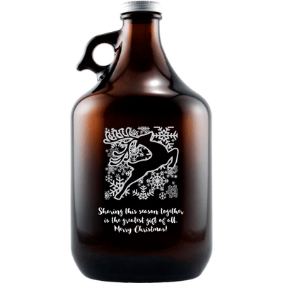 Holiday Reindeer design on a personalized beer growler gift by Etching Expressions