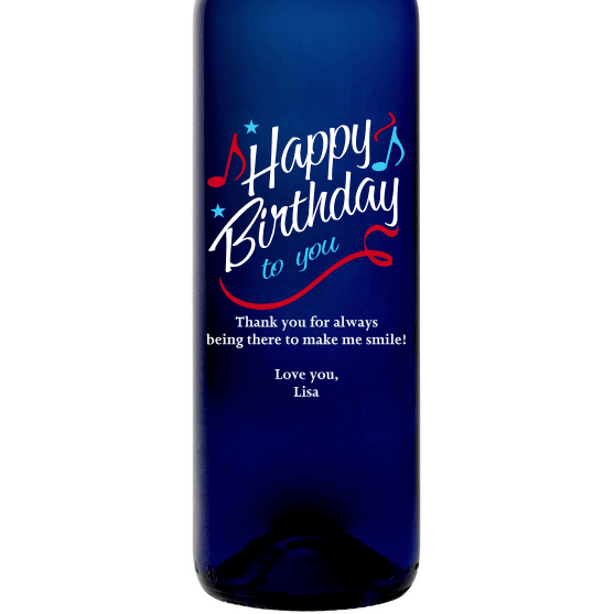 Personalized Blue Bottle - Happy Birthday to You