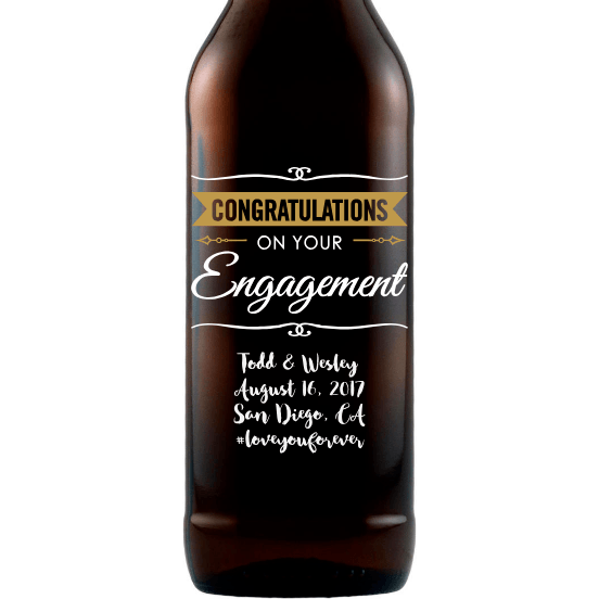 Congratulations on Your Engagement personalized engagement gift beer bottle by Etching Expressions