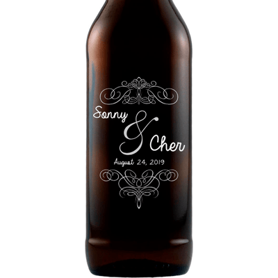 Personalized Etched Beer Bottle Gift - Fancy Couple