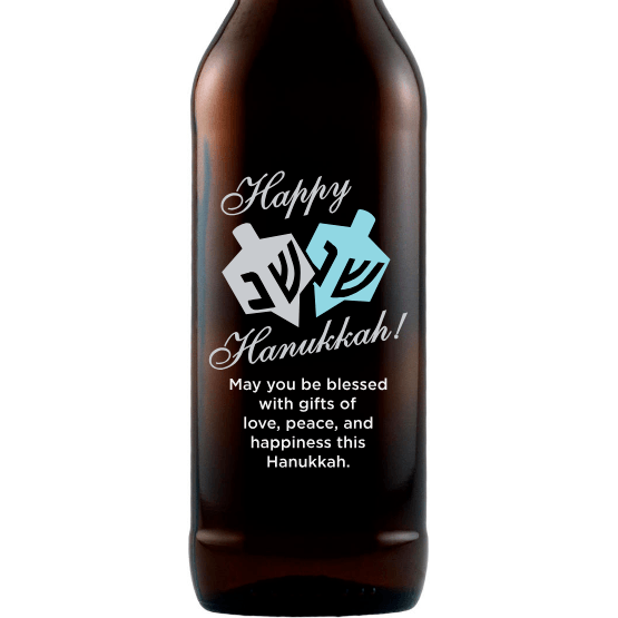 Happy Hanukkah Dreidel custom beer bottle by Etching Expressions