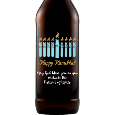 Hanukkah Menorah custom beer bottle by Etching Expressions