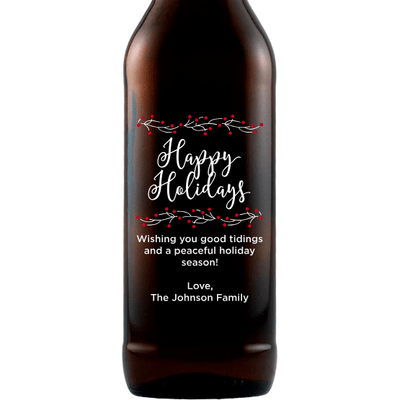 Happy Holidays with berry branches custom beer gift by Etching Expressions