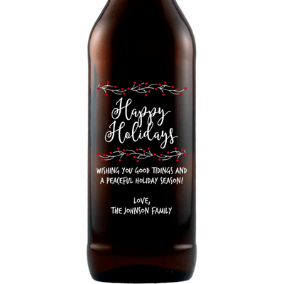 Happy Holidays with berry branches custom beer bottle by Etching Expressions