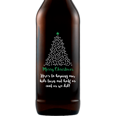 Merry Christmas starry Christmas Tree design on a custom etched beer gift by Etching Expressions