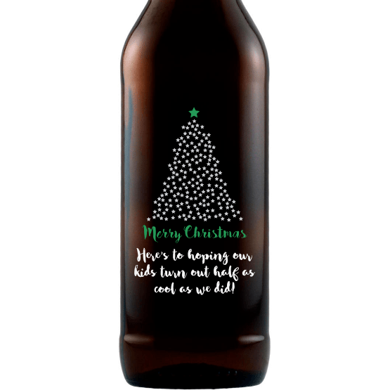 Merry Christmas starry Christmas Tree design on a custom beer Christmas gift by Etching Expressions