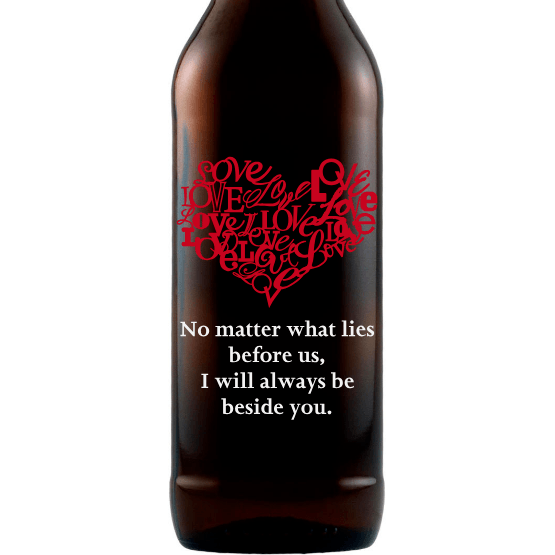 Heart of Love heart shaped design on custom beer bottle by Etching Expressions