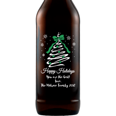 Happy Holidays custom etched beer bottle Christmas gift by Etching Expressions