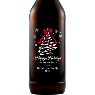 Happy Holidays custom engraved beer Christmas gift by Etching Expressions
