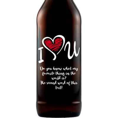 I Heart U personalized beer bottle love gift by Etching Expressions