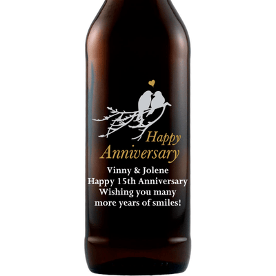 Personalized Etched Beer Bottle Gift - Love Birds