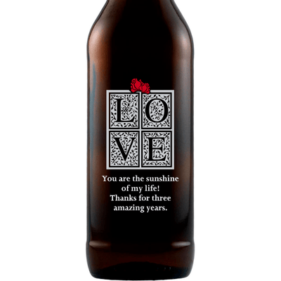 LOVE in a gift box custom beer bottle by Etching Expressions