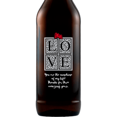 LOVE in a gift box custom Valentine's Day beer gift by Etching Expressions