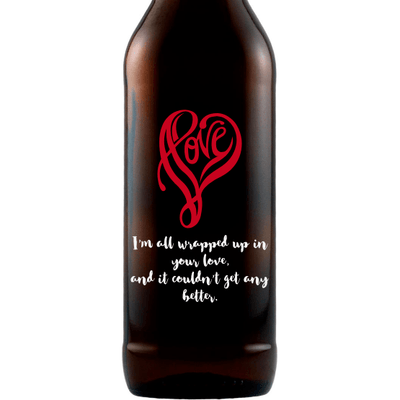 Love written in a heart shape personalized Valentine's Day gift for beer drinkers by Etching Expressions
