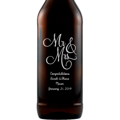 Mr & Mrs elegant font custom etched beer bottle wedding gift by Etching Expressions