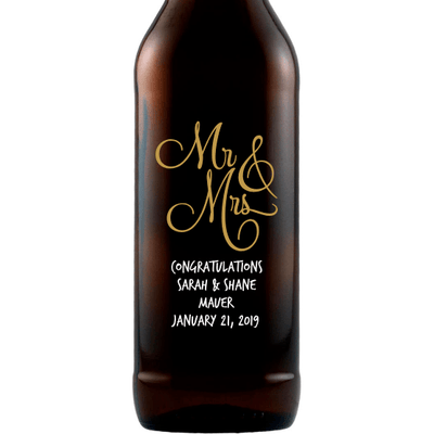 Mr & Mrs elegant font personalized wedding gift for beer drinkers by Etching Expressions