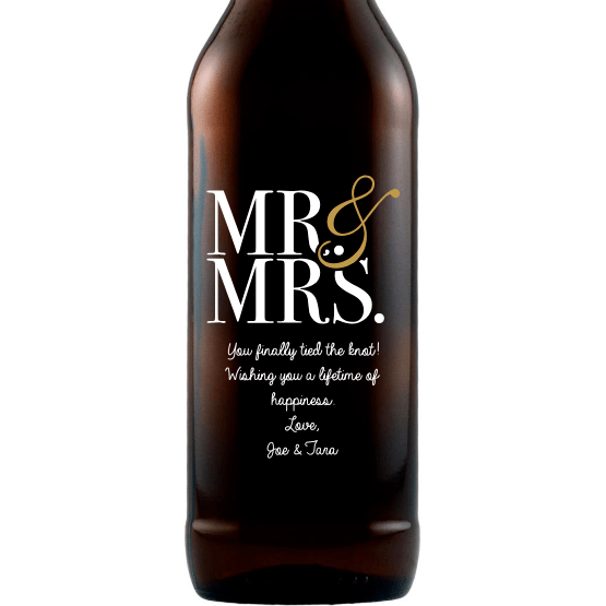 Mr & Mrs modern font custom etched beer bottle wedding gift by Etching Expressions