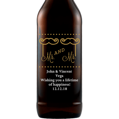 Personalized Etched Beer Bottle Gift - Mustache and Lips