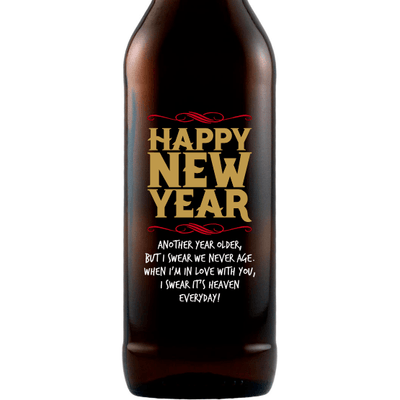 Happy New Year custom beer bottle by Etching Expressions