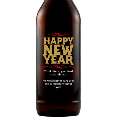Happy New Year personalized beer bottle by Etching Expressions
