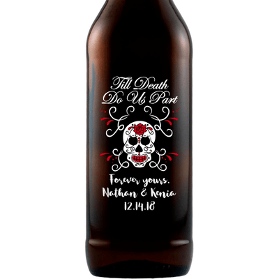 Til Death Do Us Part with skull and roses custom etched beer bottle wedding favor by Etching Expressions