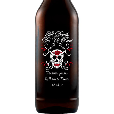 Til Death Do Us Part with skull and roses personalized engraved beer bottle wedding favor by Etching Expressions