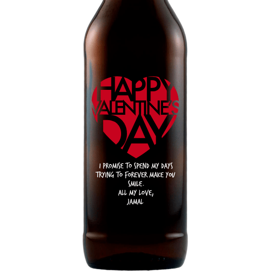 Personalized Etched Beer Bottle Gift - Valentines Big Heart