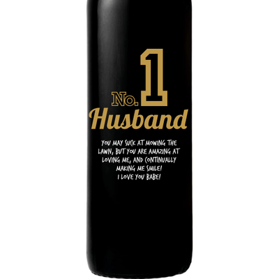 Personalized Red Wine Bottle- Number 1 Husband
