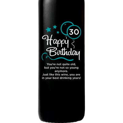 Happy 30th Birthday with blue balloons etched red wine birthday gift by Etching Expressions