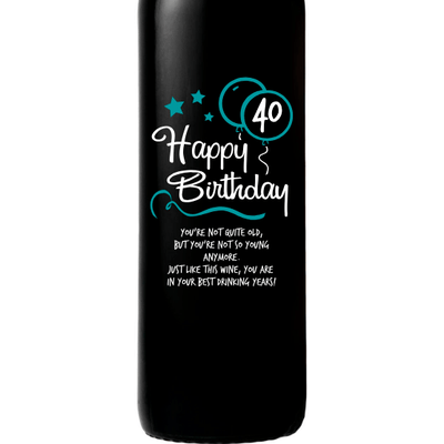 Happy 40th Birthday with blue balloons engraved red wine birthday gift by Etching Expressions
