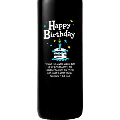 Happy Birthday Cake engraved wine bottle birthday gift by Etching Expressions